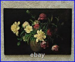 LARGE Vintage Still Life Oil Painting Signed T. B. Stephenson Flowers Floral