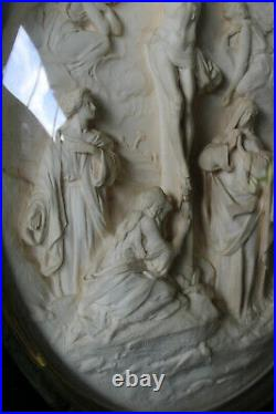 LARGE antique napoleon III meerschaum carved Crucifix scene archangels signed