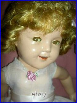 LARGE, signed Ideal Shirley Temple 25 compo. FLIRTY EYES doll, thick curly wig