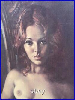 LEO JANSEN Nude Woman Art Large Painting Print On Wood -Framed Signed 29.75 VTG
