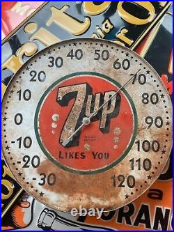 LOT Of 2 Large Antique Vintage 7Up Soda POP Bubble Pam Thermometer Drink Sign