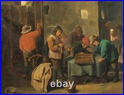 Large 17th Century Dutch Peasants Playing Backgammon David TENIERS (1610-1690)