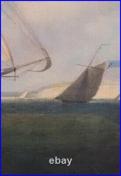 Large 18th Century British Royal Navy Ships Sailing Off The Coast Dominic SERRES