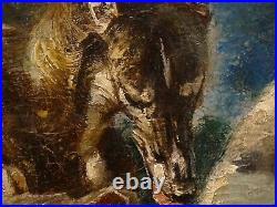 Large 1930 Austrian Portrait Two Greyhounds Playing Antique Dog Painting