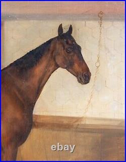 Large 19th Century British Bay Hunter Horse Stable Portrait Walter HARROWING