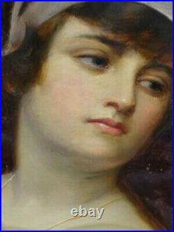 Large 19th Century Classical Julius Caesar Wife Colosseum Antique Oil Painting