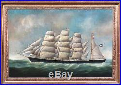 Large 19th Century Dutch Merchant Ship Study Eleanor Margaret by Joseph Witham