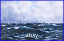 Large 19th Century English Coastal Seascape & Ship Richard WANE (1852-1904)