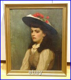 Large 19th Century English Newlyn School Girl Portrait Antique Oil Painting
