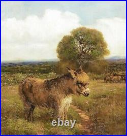 Large 19th Century English Portrait Donkey In A Field Landscape EDMUND CALDWELL