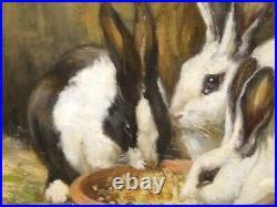 Large 19th Century English Rabbits Feeding ALICE EDITH ROSS (EX. 1886-1937)