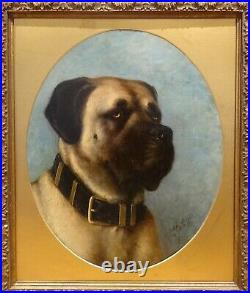 Large 19th Century English School Portrait Of A Mastiff Dog Signed Antique