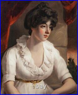 Large 19th Century English School Seated Portrait Of A Lady Wearing White Dress