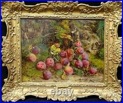 Large 19th Century English Still Life Plums On A Mossy Bank William HUGHES