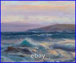 Large 19th Century English Sunset Seascape Coastal Landscape Alfred PARSONS