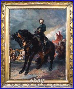 Large 19th Century French Franco-Prussian Wars Cavalry Officer & Black Horse