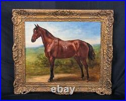 Large 19th Century French Horse In A Landscape Portrait Antique Oil Painting