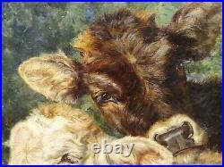 Large 19th Century Italian Portrait Of A Brown & White Cow by Eduardo MATANIA