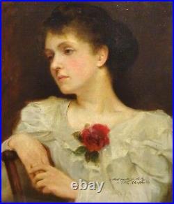 Large 19th Century Lady Portrait White Dress Rose by Frank Salisbury (1874-1962)