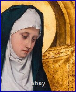Large 19th Century Madonna Virgin In Prayer Follower of Jan van Eyck (1390-1441)