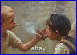 Large 19th Century Polish Street Urchins Children Smoking Signed Antique Oil
