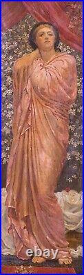 Large 19th Century Pre-Rapahelite Arts & Crafts Classical Maiden Portrait