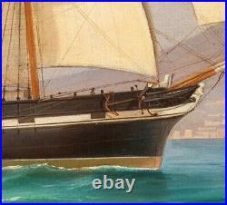 Large 19th Century Royal Navy HMS Endeavour Bay Of Naples Ship Tommaso DE SIMONE