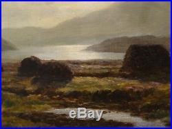 Large 19th Century Scottish Peat Moss Loch Vennachar Landscape Duncan CAMERON