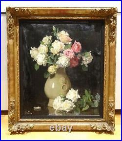 Large 19th Century Still Life Roses In A Vase Flowers Jules Alexandre GRUN