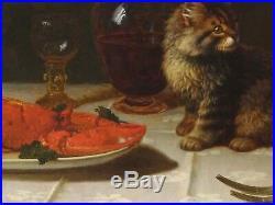 Large 19th Century Tabby Cat Kitten Lobster Still life George Frederick HUGHES