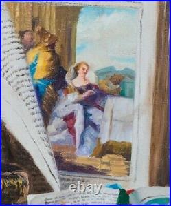 Large 19th Century Trompe l'oeil Still Life Antique Books & Papers Romek Arpad