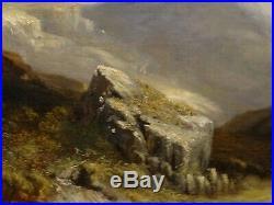 Large 19th Century Welsh Valley Landscape Horse & Cart Antique Oil Painting