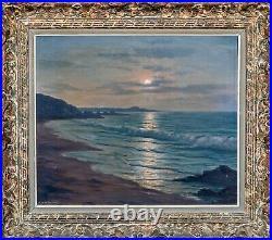 Large 20th Century French Moonlit Beach Lancieux Roger de La Corbière 1893-1974