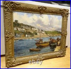 Large 20th Century Looe Cornwall Coastal Landscape Oil Painting Clive KIDDER