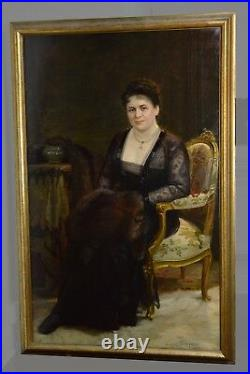 Large Antique 1917 Oil Painting Russian Master Portrait of Noble Lady