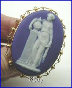 Large Antique 9ct Gold Framed Signed Wedgwood Jasper Ware Plaque Brooch