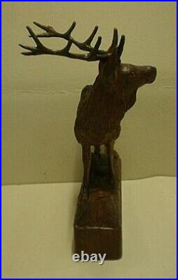 Large Antique Black Forest Stag Swiss Carving Signed