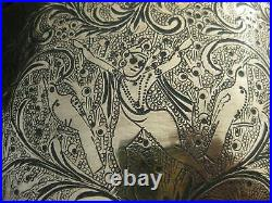 Large Antique Brass Planter Indian / Persian Engraved Figures / Birds Signed