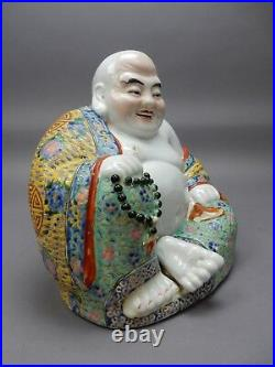 Large Antique Chinese Famille Rose Buddha Statue Imprinted Mark 12 inches