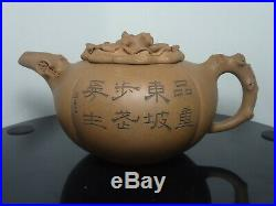 Large Antique Chinese Yixing Teapot Persimmon Shape Calligraphy Signed Seal Mark