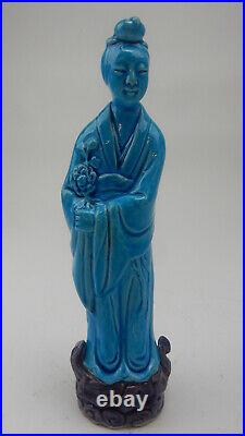 Large Antique Chinese blue glazed Statue of Guan-Yin 10 inches