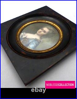 Large Antique End Of 19th Century French Miniature Hand Painted Woman Portrait