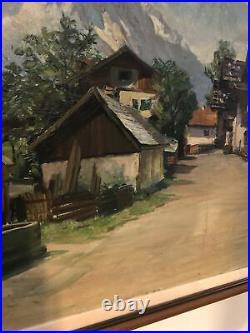 Large Antique European Oil on Canvas Painting Alpine Village Scene Signed artist