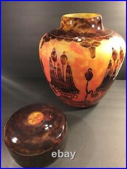 Large Antique Le Verre Francais Cameo Glass Vase & Cover. France C. 1925/ Signed
