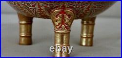 Large Antique Meiji Japanese Censer Incense Burner Signed 25cm Tall