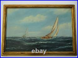 Large Antique Nautical Oil Painting By Schneider Art Deco Era Carved Frame Ships