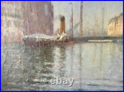 Large Antique Oil Impressionism Painting Seaside Harbord Marseille Pierre FOREST