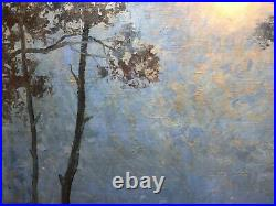 Large Antique Oil Impressionism painting Moonlight Seascape JACOBS (1887-1967)