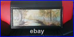 Large Antique Oil On Board Painting Framed and Signed