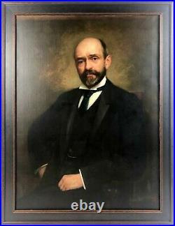 Large Antique Oil on Canvas Portrait of a Fine Gentleman by Richard Creifelds